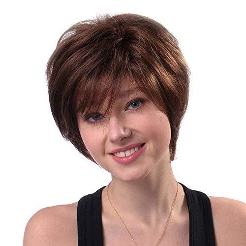 Anself 11 '' Frau Perücke kurz gerade braun Toupet reale menschliche Haare Hitze beständig
