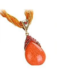 8733641bb61b53 LuckyGirls Colliers de Gouttelettes de Style Ethnique de Bijoux de Bohème  Pendentif Femmes Gemme Alliage