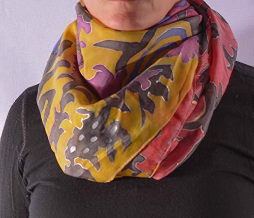 SabinesWerkstatt Seidentuch 108x115 cm. Seidentuch mit vielen Farben Rot, Schwarz, Blau, Lila, Gelb (Bemalte Schals)