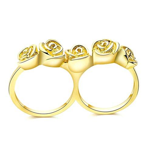 Daesar Schmuck Damenring Vergoldet Verlobungsring Vintage Rose Flowe Doppel Gold Ring Größe:57...