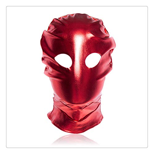 Z-one 1 PU Leder Maske Play Open Eyes Cosplay Kost¨¹m Horn Kopf Masken Hood - Halloween Masquerade (Rot)