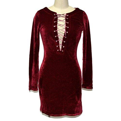 Tonsee À manches longues en V profond Lace Mini Dress Up des femmes Rouge
