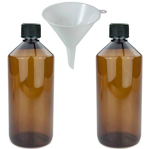 mikken 2 x braune Laborflasche 1000 ml aus Kunststoff (PET), Apothekerflasche, Veralflasche inkl. Einfülltrichter