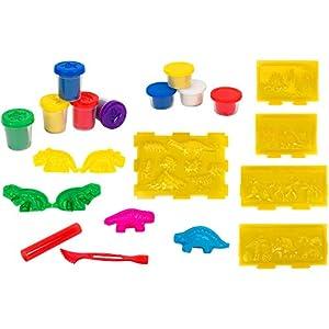 Globo Toys Globo 37383 Kidea - Juego de Dinosaurios y Puerto de Arcilla Suave
