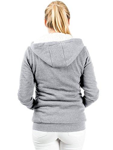 Casual Standard Damen Kuscheljacke Sweatjacke Hoodie Kapuzenpullover (S, grey) -