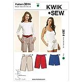 KWIK-SEW PATTERNS K3614 - Cartamodello per bermuda da donna, taglie XS, S, M, L, XL, colore: bianco (lingua inglese)