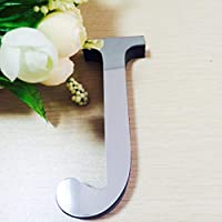 Watopi Silver Personalised Letters Mirror Wall Sticker, Removeable Wall Decals Mural Art Stickers Alphabet Spelling for Birthday Baby Shower Background Party Wedding