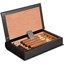 Boîte à cigares Volenx en bois de cèdre - Cave à cigares de voyage avec coupe-cigare et hygromètre - Pour contenir 5cigares