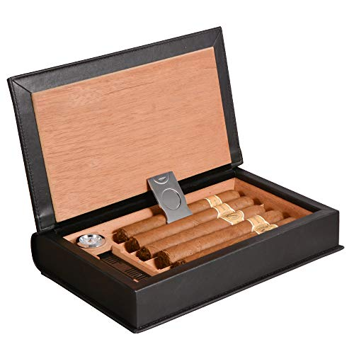Volenx Cigarol Zigarren Humidor aus Leder und Zedernholz für Reise - Hält 5 Zigarren