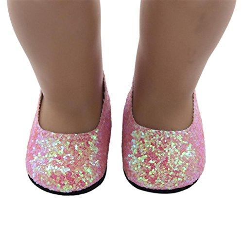 Puppen Schuhe , YUYOUG Glitter Puppe Schuhe Kleid Schuh für 18 Zoll unsere Generation American Girl Doll und anderen 16 Zoll 18 Zoll Puppen (Rosa)