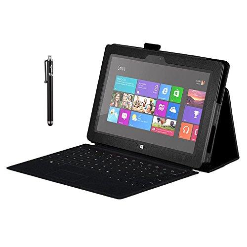 zeadio Prämie Leder Tasche Hülle Schutzhülle Etui Case Cover mit Ständer f¨ür Microsoft Surface Pro 2 (10.6 Inch) Tablet - Schwarz