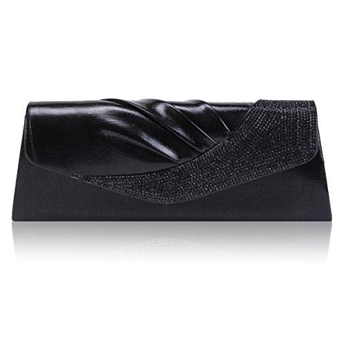 Damara Femme Sac De Soirée Bouton Magnétique Strass Brillant Elégant noir