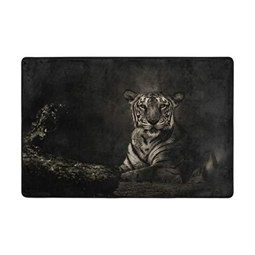 Orediy Weiche Teppiche Tiger im Dunkeln Leichter Bereich Kinder Spielmatte Rutschfeste Yoga-Teppich für Wohnzimmer Schlafzimmer, Polyester, Multi, 183 x 122 cm -