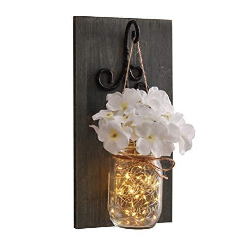 Uonlytech Luci Solari in Barattoli di Vetro Mason Jar con Fiore Bianco e Tavola di Legno per Decorazione Soggiorno