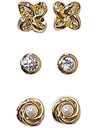 3 Pairs of Magnetic Earrings with Rhinestones qHODR8E0S