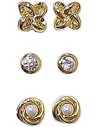 3 Pairs of Magnetic Earrings with Rhinestones