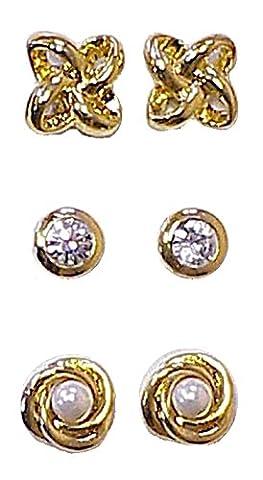3 Paires de Boucles d'Oreilles Aimants Magnétiques Strass