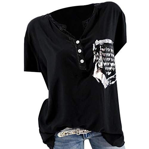 a Top Spitze Hemd Solide Flroal Damen Sommer Mode Kurzarm Tasche Gedruckt Bluse Tops T-Shirt ()
