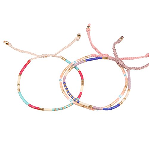 3 Stücke Bunt Samen Perle Handgefertigt Geflochten Armband Boho Armreif, Rosa/Rot/Lila