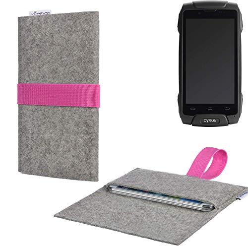 flat.design Handy Tasche Aveiro mit Filz-Deckel und Gummiband-Verschluss für Cyrus CS 30 - Sleeve Case Etui Filz Made in Germany hellgrau rosa - passgenaue Handyhülle für Cyrus CS 30