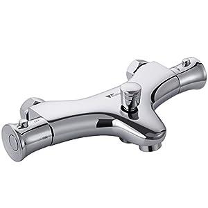 Amzdeal Grifo de bañera termostático, Grifo mezclador para agua caliente y fría 20-50℃, Termostato de ducha y bañera…