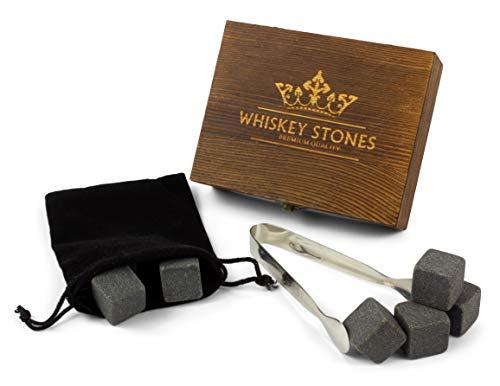 Giftsfordudes.de Whiskystein Geschenkset | 9 Whisky Kühlsteine aus Granit | Whiskey Stones in hochwertiger Holzbox - Glas-steinen Karte