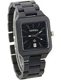 Bewell–Reloj madera reloj cuarzo con manecillas luminosas analógica watches100% hecho a mano para hombres