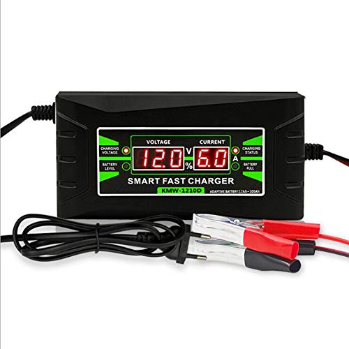 RSGK Caricabatteria per Auto Completamente Automatico, Caricabatterie Acido al Piombo Secco a Ricarica Rapida Intelligente 12V / 6A, Display LCD Digit