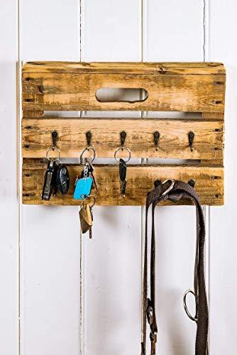 Schlüsselbrett, Schlüsselboard aus Altholz Holz alter Obstkiste mit 10 Haken, Handmade, ()