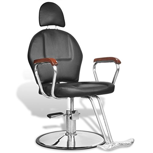Vidaxl poltrona sedia da barbiere professionale in pelle artificiale con poggiatesta