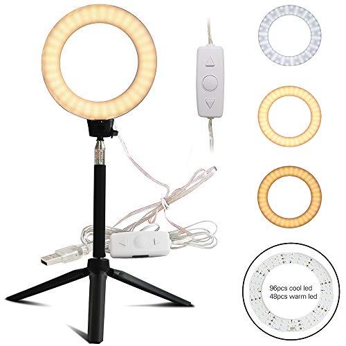 FREESOO Ringleuchte 10W Dimmbar Ringlicht Tisch USB LED-Leuchtmittel 3200K-6500K Farbtemperatur...