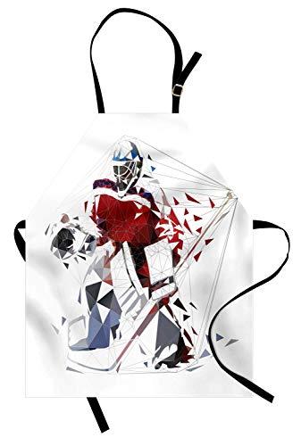 Eishockey-Schürze, Sport unter dem Motto künstlerische Low Poly stilisierte Silhouette eines Hockey-Spieler, Unisex-Küche Latzschürze mit verstellbarem Hals zum Kochen Backen Gartenarbeit, Vermilion ()
