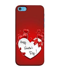 PrintVisa Designer Back Case Cover for Apple iPhone 5c (Happy Valentines Day Cute Designin Red )