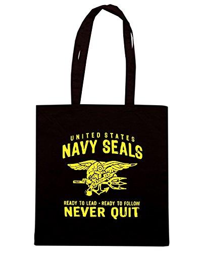T-Shirtshock - Borsa Shopping TM0432 navy seals never quit Nero