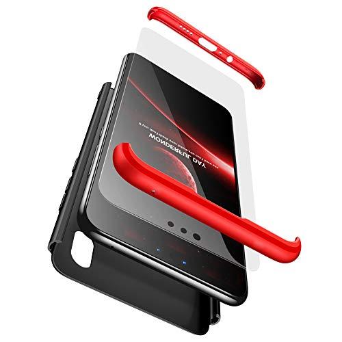 BESTCASESKIN Hülle Kompatibel mit Xiaomi Redmi S2/Y2 Handyhülle,Superleichte Ultradünne 3 in 1 PC Schutzhülle Stoßfeste Kratzfeste + Gratis Panzerglas Schutzfolie Rot Schwarz