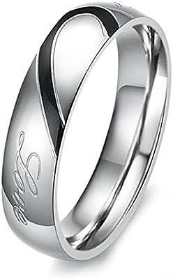 MunkiMix Acero Inoxidable Banda Venda Anillo Ring Corazón Heart San valentin Amor Love Pareja Alianzas Boda Compromiso Promesa Hombre