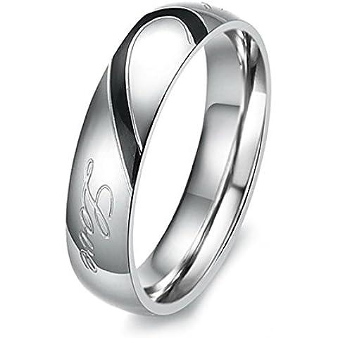 MunkiMix Acero Inoxidable Banda Venda Anillo Ring Corazón Heart San valentin Amor Love Pareja Alianzas Boda Compromiso Promesa