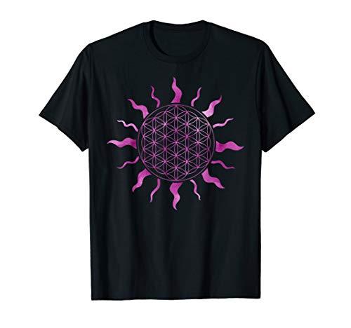 Blume des Lebens Sonne Watercolor Sonnenstrahlen Mandala Art T-Shirt