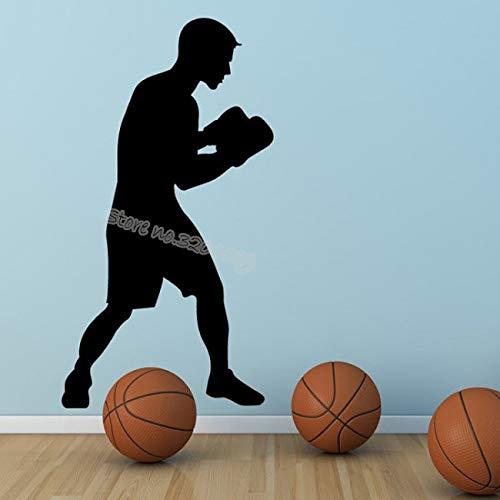 Njuxcnhg Boxen Boxer Sport Wandaufkleber Boxer Silhouette Kunst Decals Vinyl Abnehmbare Für Wohnzimmer boxhalle Studio Kunstwand 56X104 cm