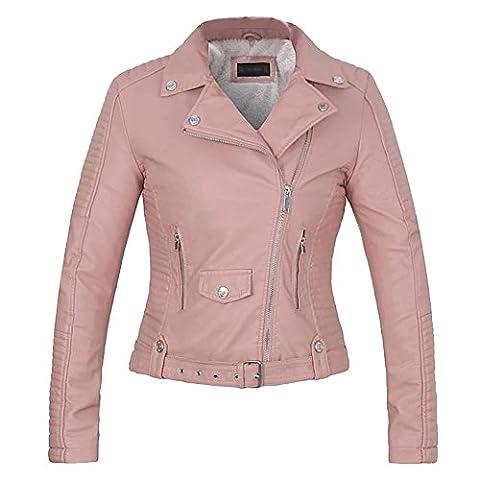 YOUJIA Femmes PU Cuir Manteau Revers Manche longue Zip Veste de Moto avec ceinture & Chaud Doublé en fausse fourrure (Pink, CN S)