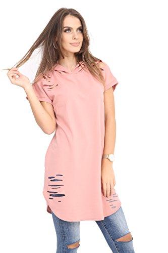 Papermoon - Sweat à capuche simple à manches longues - Manteaux - Femmes - Grandes tailles 42 à 56 Rose