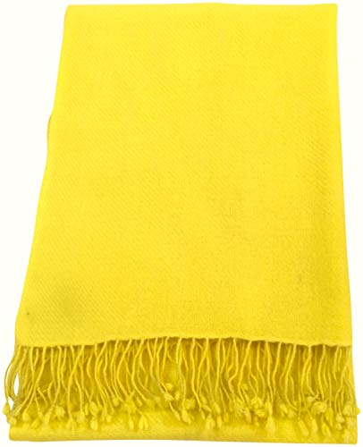 Pashmina amarilla para mujer con borlas nepalís
