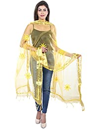 Fashion Store Tissue Mirror Work Party Wear Dupatta,chunni,stole,scarves(Length:99 Inch,Yellow)