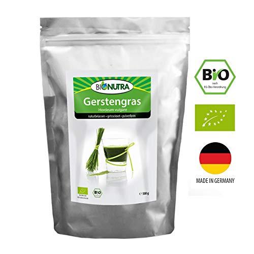 BioNutra Gerstengras-Pulver Bio aus deutscher Herstellung 500 g (Hordeum vulgare), kontrolliert biologischer Anbau (Bodensee DE/AU), Premium Qualität