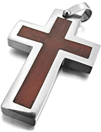 MunkiMix Stainless Steel Wood Pendant Necklace Silver Tone Brown Cross Men ,23 inch Chain