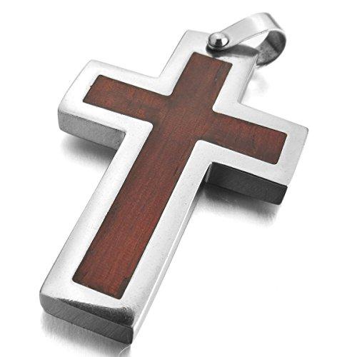 MunkiMix Edelstahl Holz Anhänger Halskette Silber Ton Braun Kruzifix Kreuz Herren ,mit 58cm Kette