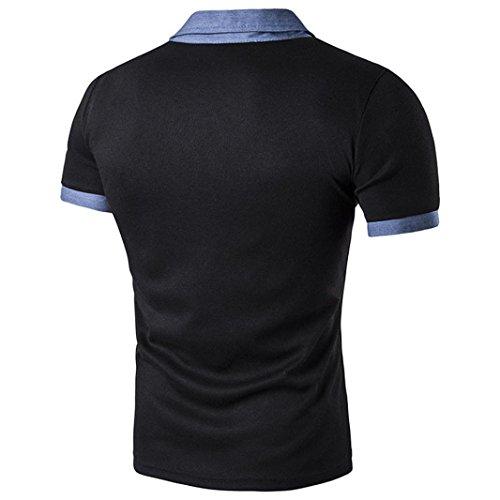 KanLin1986 Slim Sport manica corta casuale Polo magliette dei nuovi uomini caldi Nero