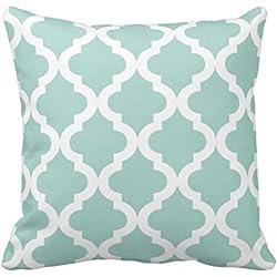 "Verde menta marroquí Quatrefoil manta funda de almohada decorativa lienzo acento geométrico funda de almohada para sofá 18x 18"""