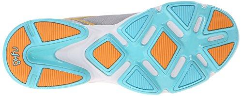 Ryka Devotion Synthétique Chaussure de Course - Grey/Light Blue/Orange
