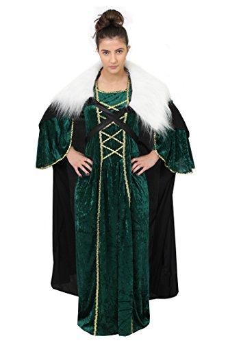 ILOVEFANCYDRESS Game of Thrones Wikinger Prinzessin=DAS Kleid IN 2 GRÖSSEN+GRÜN ODER ROT+UMHANG=KOSTÜME VERKLEIDUNGEN MIT ROTER ODER BLONDEN ZOPF PERÜCKE=AUCH MIT ()
